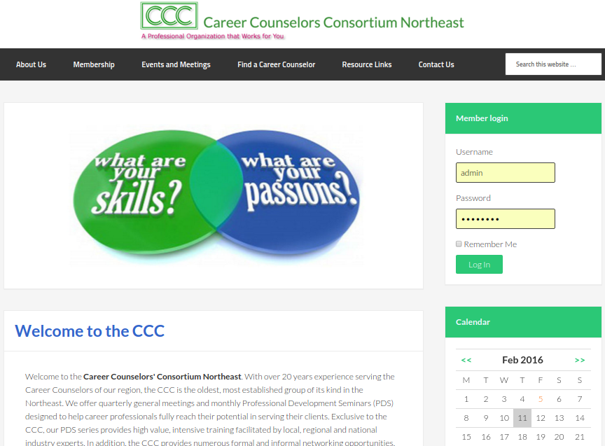 Career Counselors Northeast. Membership Website