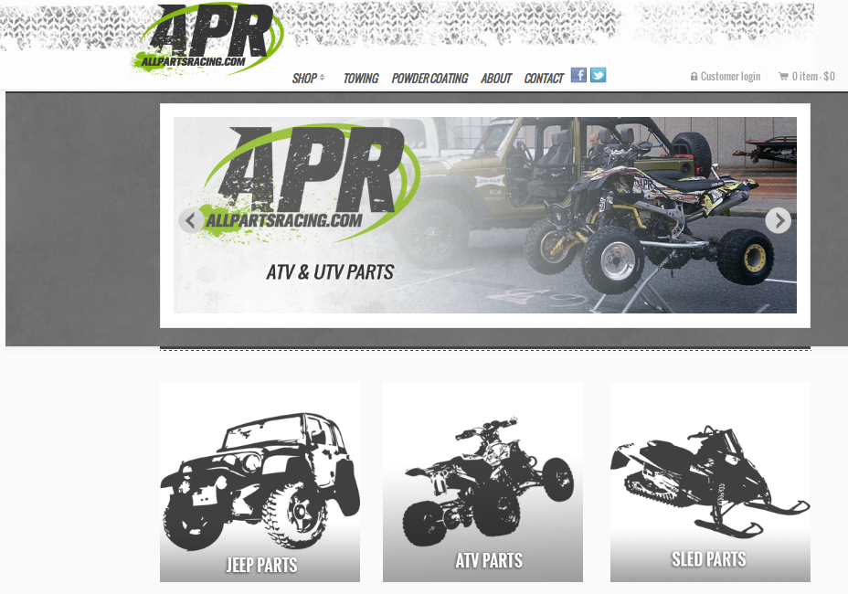 Racing parts ecommerce site